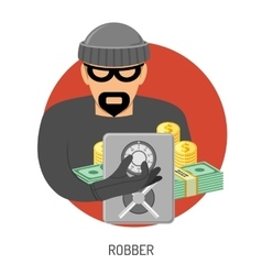 Robber Icon with Safe vector image vector image