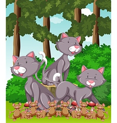 Three cats and lots of mouse in the park vector image vector image
