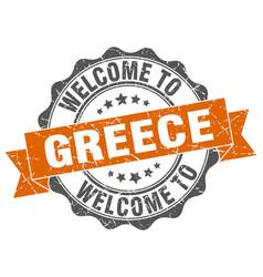 greece round ribbon seal vector image vector image