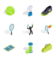 tennis icons isometric 3d style vector image vector image