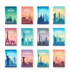 collection of famous city scapes vector image vector image