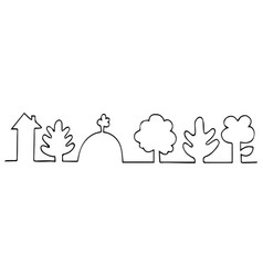drawn with one line house in forest vector image vector image