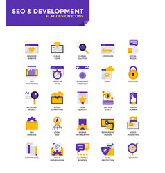 modern material flat design icons - seo and vector image vector image