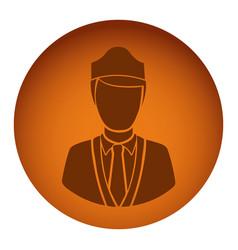 orange emblem guard person icon vector image vector image