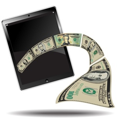 touch Pad with Money vector image vector image