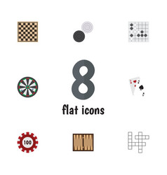 flat icon entertainment set of chequer guess vector image vector image