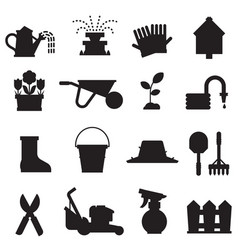 spring gardening icons set vector image vector image