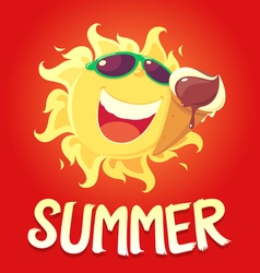 Sun and ice cream vector image