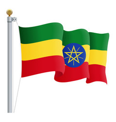 waving ethiopia flag isolated on a white vector image