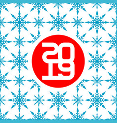 2019 happy new year card with seamless snow vector image