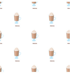 A cup of mocha with foamdifferent types of coffee vector