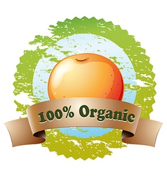A pure organic label with an orange vector