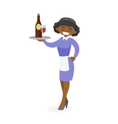 african-american waitress holding tray with wine vector image