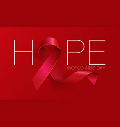 Aids awareness world day concept hope red vector