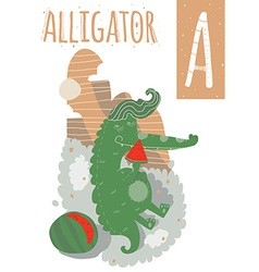 Alligator with colorful background eating vector