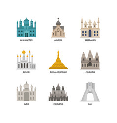 Asian cities and counties landmarks icons set 1 vector