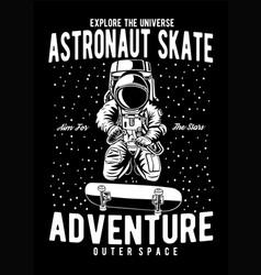 astronaut skate vector image