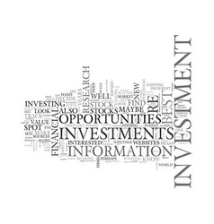 Best investment opportunities how to spot one vector