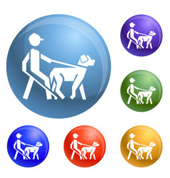 Blind man dog pet icons set vector