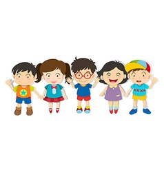 Boys and girls standing together vector image