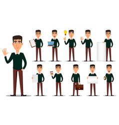 Business man cartoon character set vector