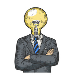 Businessman lamp bulb head color sketch engraving vector