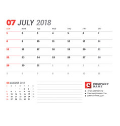 calendar template for 2018 year july business vector image