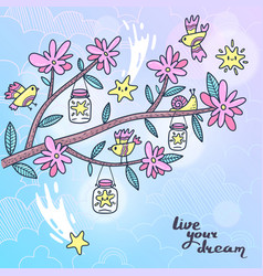 Card blooming tree branch with birds and stars vector