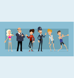 Cartoon flat funny women and men character set vector