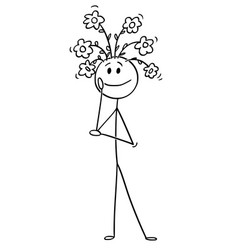 cartoon of man with flowers growing from his head vector image