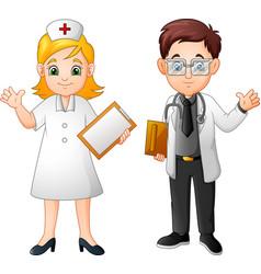 cartoon smiling doctor and nurse vector image