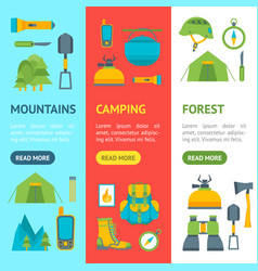 cartoon traveling camping and hiking banner vector image vector image