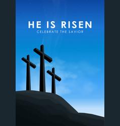 Christian easter scene saviour cross on dramatic vector