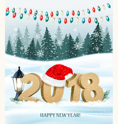 christmas holiday background with 2018 and red vector image