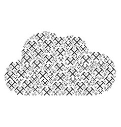 Cloud collage of mining hammers icons vector