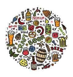 craft beer hand drawn elements set in circle vector image