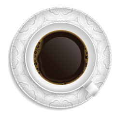 Cup of coffee on saucer vector