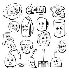 Cute items for cleaning vector