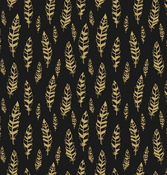 Dark and gold seamless pattern with feathers vector