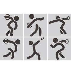 Discus throw icons vector