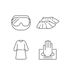 Disposable medical wear linear icons set vector