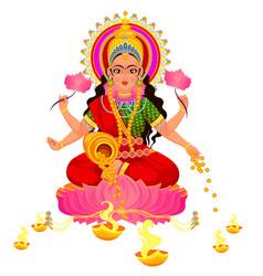 Diwali indian holiday with parvati hindu goddess vector