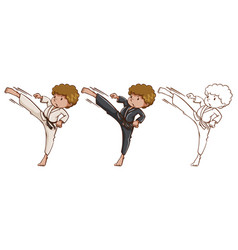 doodle character for martial arts vector image