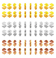 effect 3d animation of metal spinning dollar sign vector image