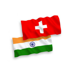 Flags india and switzerland on a white vector