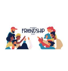 Friendship day banner friends doing high five vector