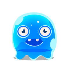 Funny cartoon friendly blue slimy monster cute vector