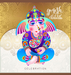 ganesh chaturthi beautiful greeting card or poster vector image