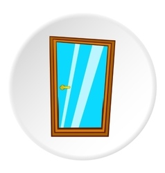 Glass interior door icon cartoon style vector