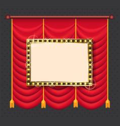 golden illuminated frame stage curtain vector image